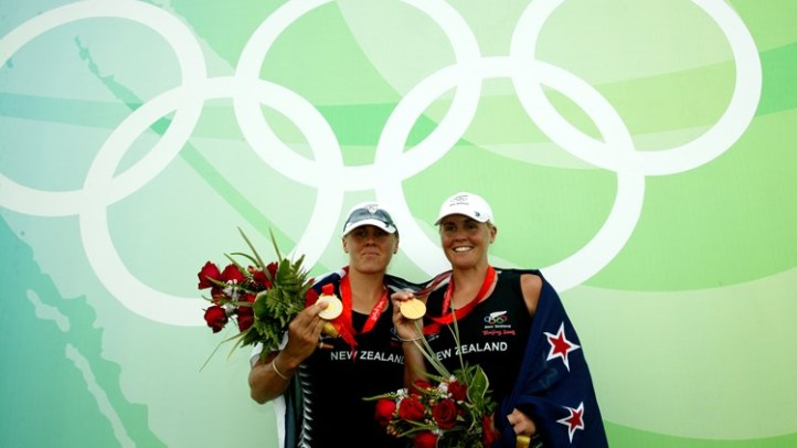Caroline and Georgina Evers-Swindell of New Zealand win gold at the Beijing Olympic Games. Photo: FISA.
