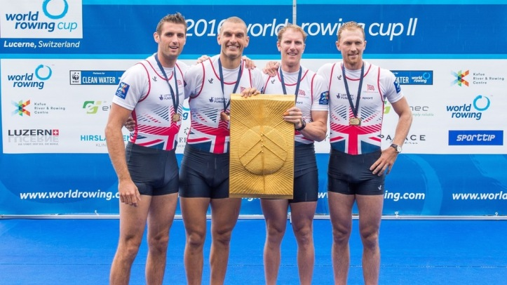 Caption: GB's gold medal coxless four at Lucerne – from left to right: Callum McBrierty, Moe Sbihi, George Nash and Alex Gregory. Photo: British Rowing's website.