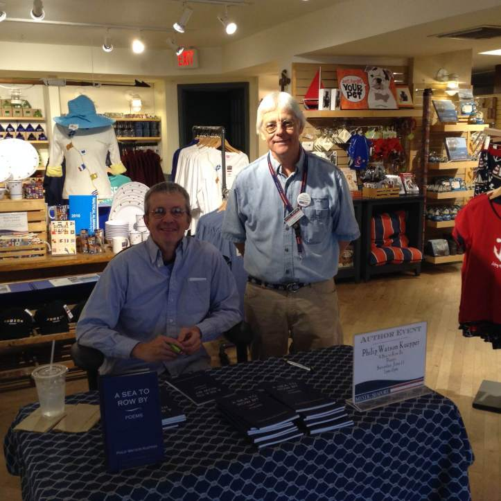 Poet Philip Kuepper signing his A Sea To Row By - Poem on Saturday at Mystic Seaport Bookstore. Philip here with Bookstore Manager Larry Kelly.