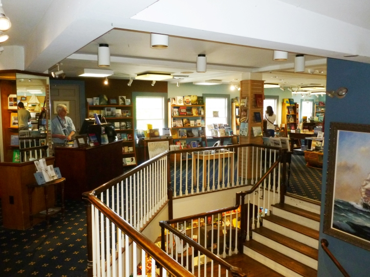 Mystic Seaport Bookstore has a wonderful collection of maritime books. On the left is Bookstore Manager Larry Kelly.