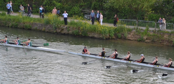 Near the finish, opposite Boathouse Island, Jesus threaten Brasenose in Men's Division II.