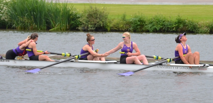 Academic Coxed Fours: University of London beat Glasgow University by 3 3/4 lengths.