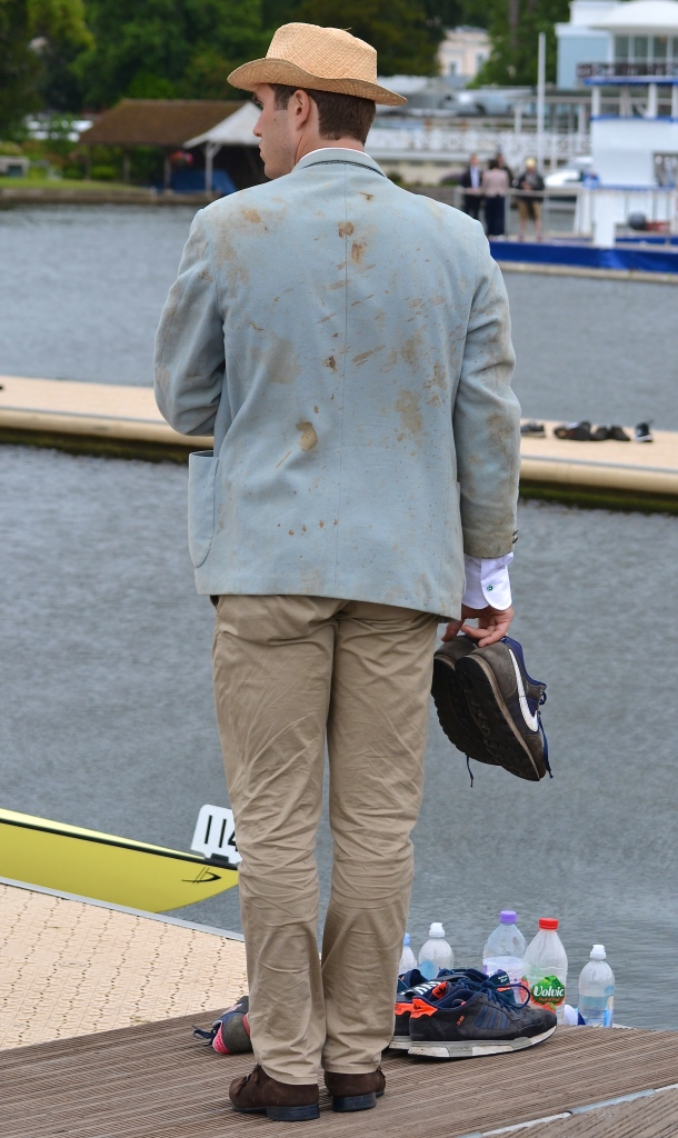 Many Dutch student rowing clubs famously pass on blazers from one generation to the next with a prohibition on cleaning or repair. Here, a rower from Koninklijke Studenten Roeivereeniging Njord sports such a garment. Clearly he and/or the jacket's previous owners have fallen over rather a lot.