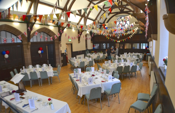 Laurencekirk's wonderful Dickson Hall is set up for the Kinnear Dinner. Remarkably, the delicious meal of largely local produce was cooked, served and washed up by volunteers. This was a good example of the real community spirit that seems to exist in the village.