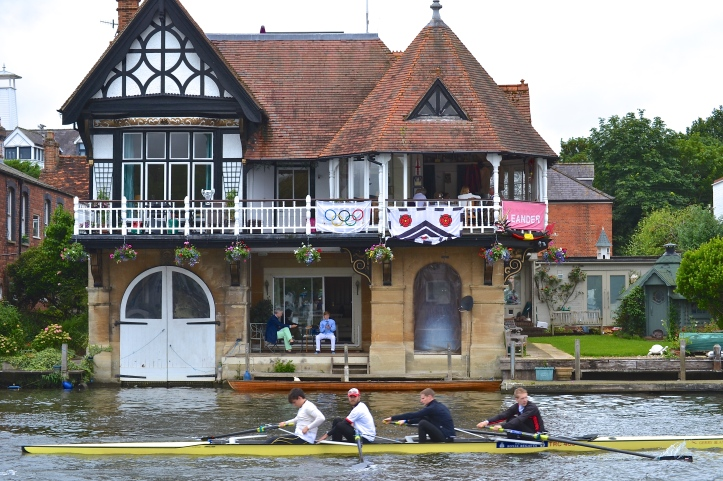 Some lucky people do not have to travel very far for a good view of the regatta. This is one of the splendid houses opposite the Boat Tent Area.
