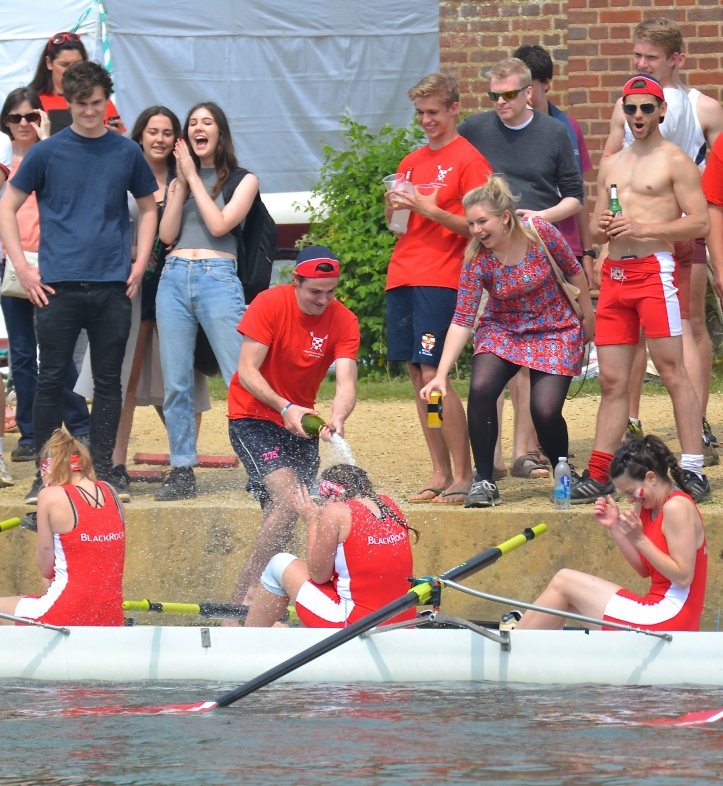 Regent's Park, rowing in Women's Division IV, celebrate winning blades. They bumped New College II, Lincoln II, Oriel II and Christ Church II.