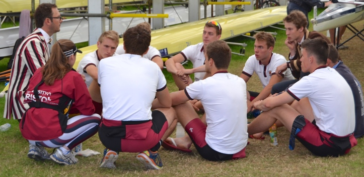 The University of Bristol pay attention to their pre-race briefing before their race against the University of London 'A' in the student eights event, the Temple Challenge Cup. Sadly for Bristol, London won 'easily'.