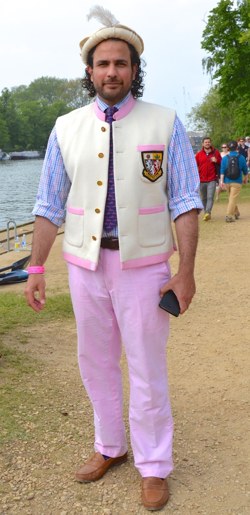 Pic 14. This splendid outfit is worn by Faiysal AliKhan, President of the Oxford University Pakistan Society. His interpretation of the Pembroke College Boat Club blazer is based on the waistcoat (US: vest) worn by many men in Pakistan. He told me that he usually wears it with a large pink turban 'which the people of Pembroke know well', but here he sports a pakol, a hat popular in Northern Pakistan and Afghanistan.