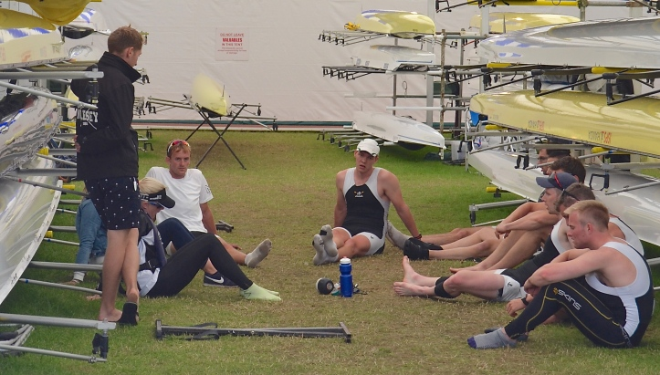 'Success has many fathers but defeat is an orphan'. Molesey Boat Club 'B' contemplate their loss to Sydney Rowing Club, Australia, in the Thames Cup.