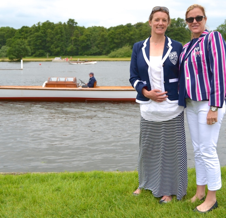 HWR committee members, Elise Cope (left) and Bibi Colgan (right). Bibi sports one of the new Henley Women's Regatta blazers, a nice addition to an event that is developing its own traditions.
