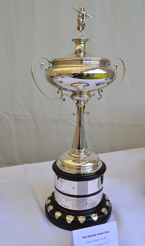 The regatta is also amassing an impressive collection of trophies. Some are especially commissioned but others are from defunct regattas and events (though none the worse for that). This elegant piece of silverware is now the George Innes Cup for Elite Single Sculls.