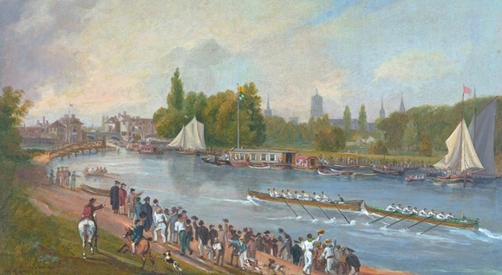 Bump racing on the Isis (as the Thames at Oxford is known) in 1822. It is a scene that is still very recognisable today. Downstream (on the left here) is the stone built 'Folly Bridge'. In 2015, HTBS reported on the 200th Anniversary of bump racing at Oxford https://heartheboatsing.com/2015/05/30/200-years-of-oxford-racing/ and on how this was celebrated. https://heartheboatsing.com/2015/05/31/brasenose-won-with-more-than-a-nose/