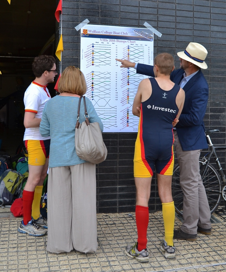 Pic 21. At the University College Boathouse, rowers from Wolfson and their guests check the ups and downs of the previous three days on a 'bumps chart'.