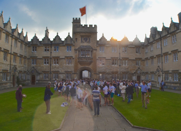 In the Oriel College quad, the boat is placed where it will be burned following that evening's 'Bumps Supper'. When I reported on the same ritual in 2014, https://heartheboatsing.com/2014/06/10/bumps-to-the-head-the-2014-oxford-summer-eights-part-2-an-oriel-picture-diary/ the boat was smashed up at this point. This year, Health and Safety has decided that such a thing is too dangerous.