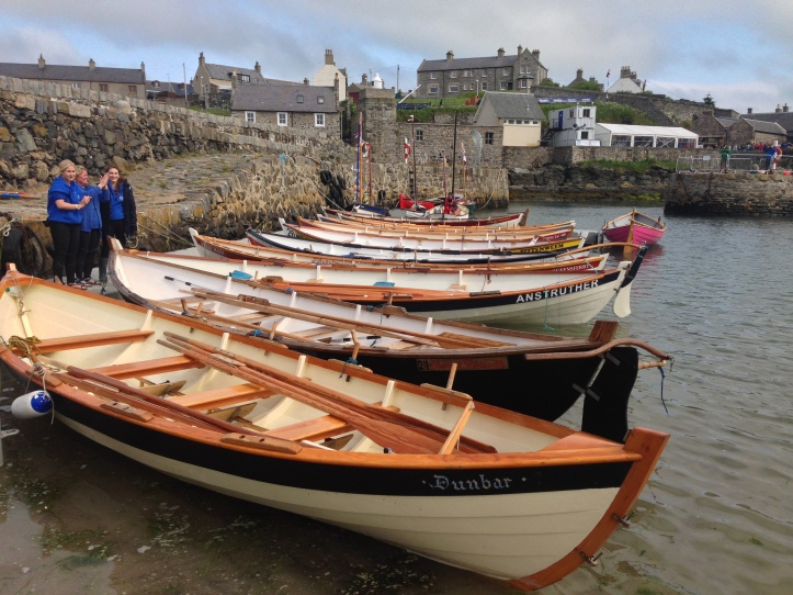 St Ayles Skiffs in Portsoy harbour. Picture: scottishcoastalrowing.org