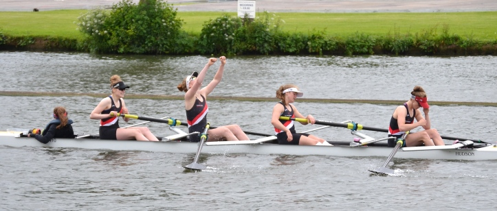 Junior Coxed Fours: Gloucester Hartpury beat Emanuel School by 3 lengths.