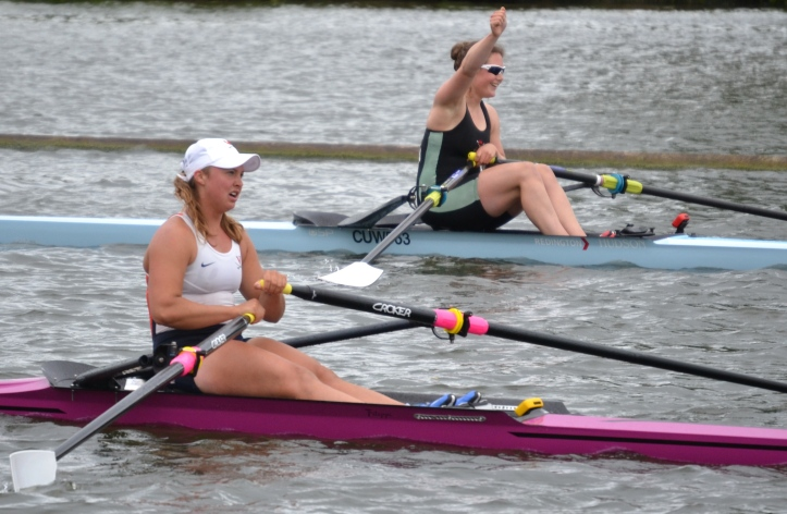 Elite Single Sculls: Wilson, Cambridge University Womens BC beat Casto, University of Virginia, USA, by 2 1/4 lengths.