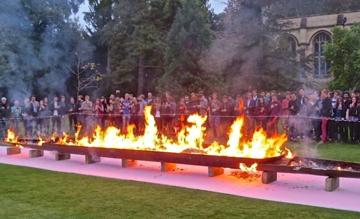 The 2016 Wadham boat burning is some months away but this shows the scene in the college's Fellows' Garden in 2015 when the Wadham women celebrated going Head in both March's Torpids and June's Eights Week. Picture: www.wadham.ox.ac.uk