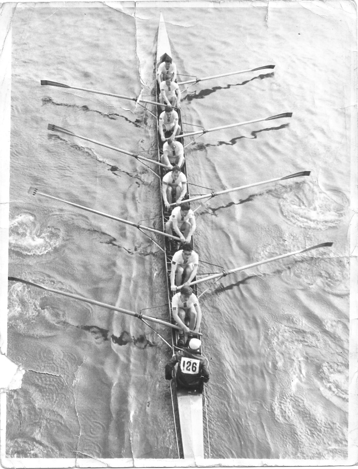 Pic 2. Henri is at '7' in this Kensington Rowing Club Eight competing in the 1958 Head of the River Race. John Dixon is at '5' and Jimmy Pigden is coxing.