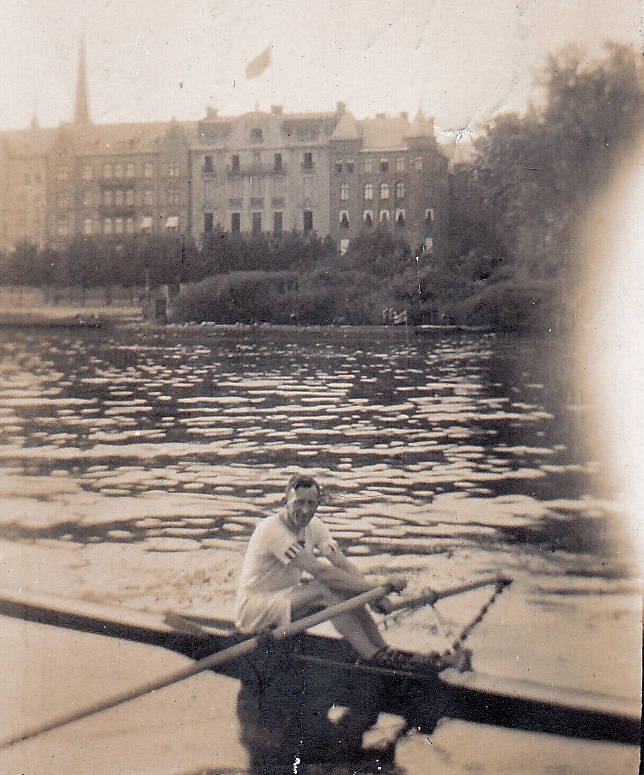 Wally Kinnear practicing in Stockholm, 1912. This picture is from his personal album, courtesy of his son, Donald.