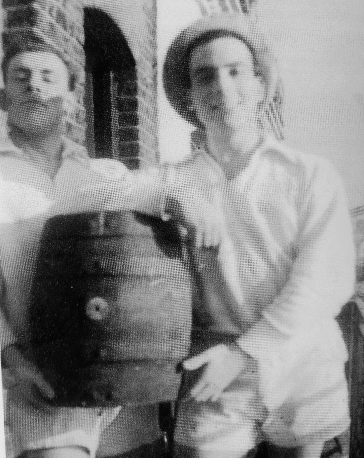 Pic 4. On the KRC balcony, left to right: John Dixon, a wooden cask of Fuller's London Pride, Henri.