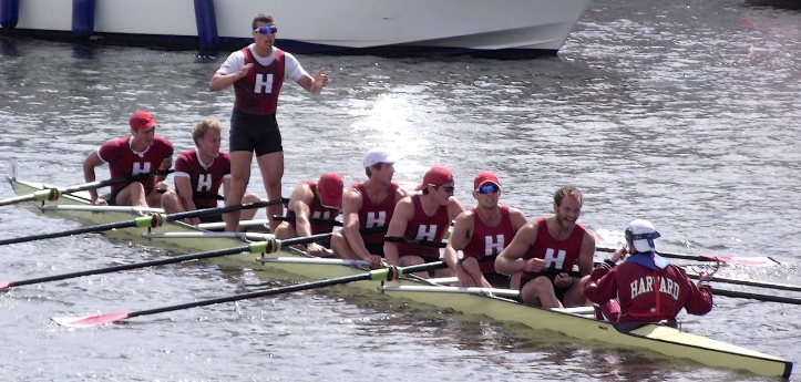 Harvard, pictured happy at Henley in 2012. In 2016, the Crimsons were not so happy on another Thames River, 3,000 miles away in Connecticut.