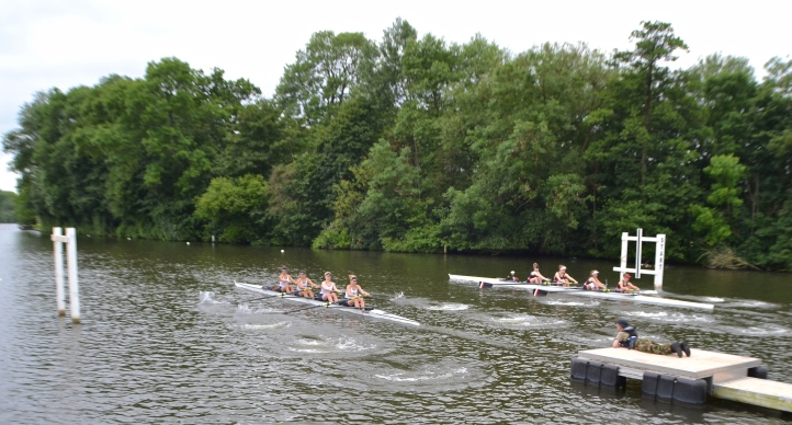 Henley RC (left) and Gloucester Hartpury go off in a semi of Junior Coxed Fours, the latter eventually winning by 1/2 length.
