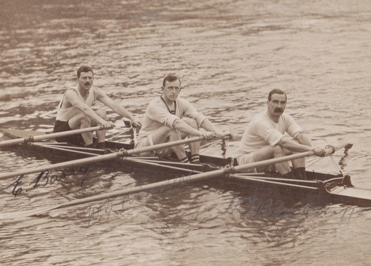 Left to right, Ernie Barry (World Professional Sculling Champion five times), Wally Kinnear (Olympic Sculls, 1912) and Harry Blackstaffe (Olympic Sculls, 1908). Barry was probably the fastest of the three but this could never be tested in open competition as he was a professional and the other two were amateurs.