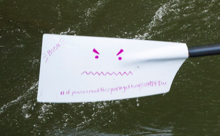 Churchill's women have pink blades, but one is white for some reason – one cheeky rower has drawn a smiley face on the front. This appeared on the back this year.
