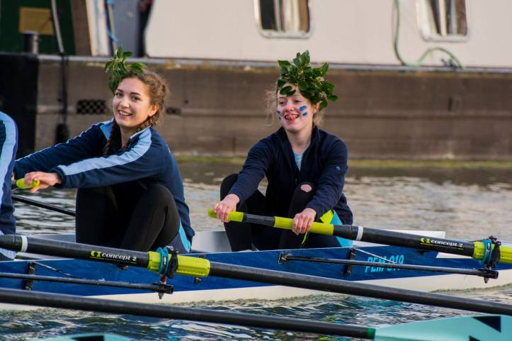 Fran rowing home in two-seat the day we won our Blades last term. Look at those braids. Photo credit: Giorgio Divitini, a student photographer from Churchill College.