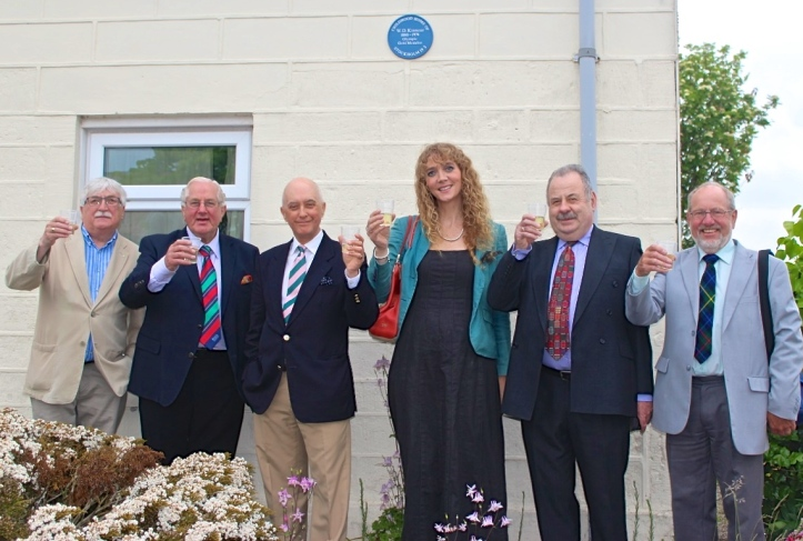 Prior to the 2016 Kinnear Dinner, a group from the Laurencekirk & District Rotary Club and I visited Wally's childhood home and drank a toast under the commemorative plaque. Second from the left is Jim Brown and at the end on the right is Allan Smith, President of the local Rotary and Chairman of the Kinnear Dinner and who gave me a wonderful tour of the Howe o' the Mearnes and of the city of Aberdeen.