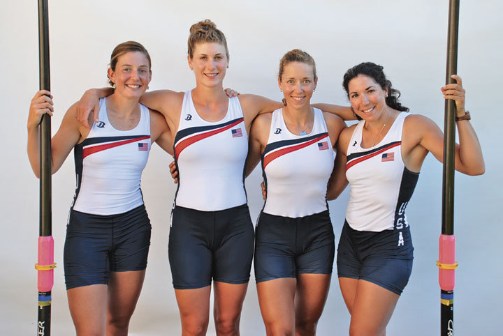The American 2012 Olympic bronze medallists in the quadruple sculls, from left to right: Adrienne Martelli, Natalie Dell, Megan Kalmoe and Kara Kohler. Photo: USRowing.