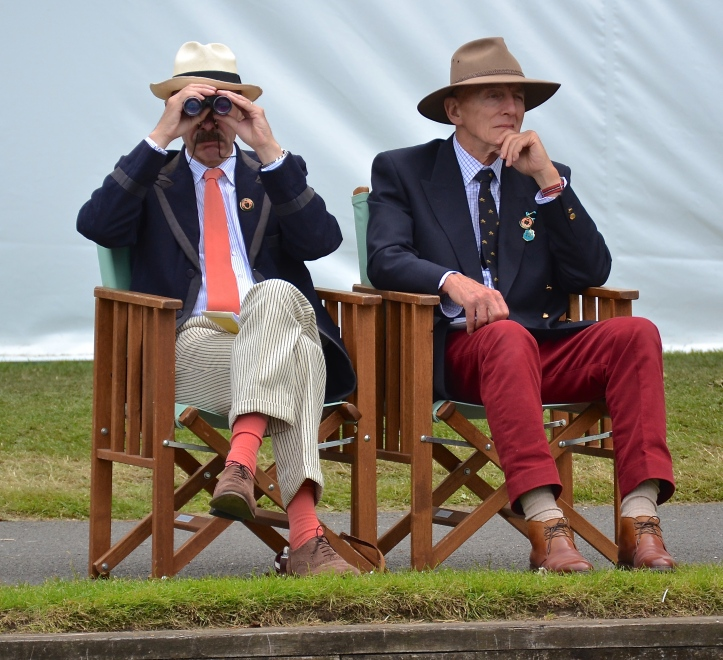 Watching me watching you. Two nonchalant Henley regulars keep a seasoned eye on Thursday's action.