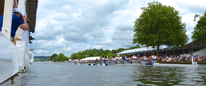 The Thames Challenge Cup (Men's Club Eights): University Barge Club, USA, beat Fujian Rowing Club, China, by 1 1/3 lengths.