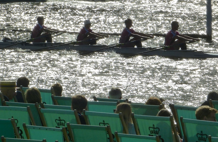 Abingdon School racing in the Fawley Challenge Cup (Junior Men's Quads). They were beaten by Claires Court School by 3 1/2 lengths.