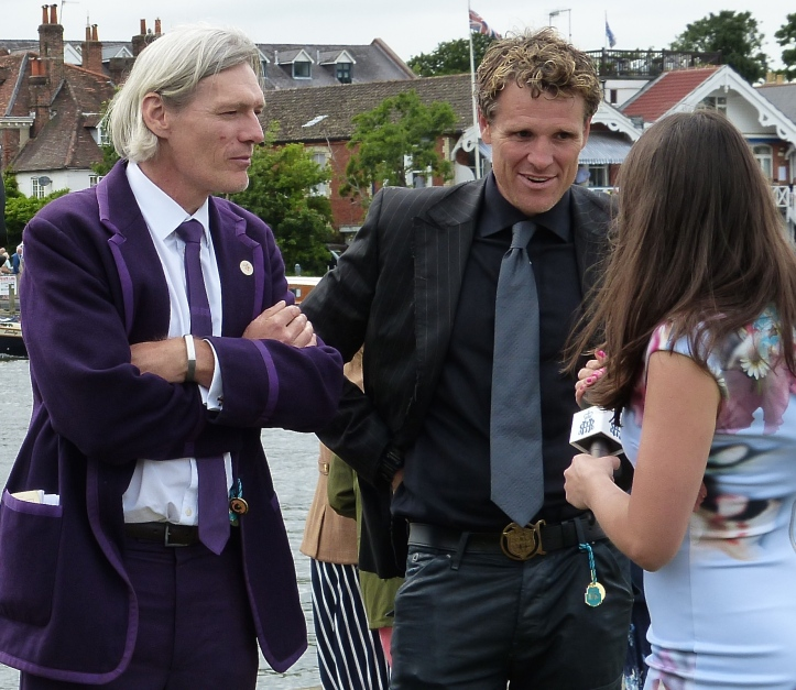 Tim Foster (left) and James Cracknell (right) are interviewed for broadcast. Most famously, they rowed in the four that won Gold at the Sydney Olympics in 2000.