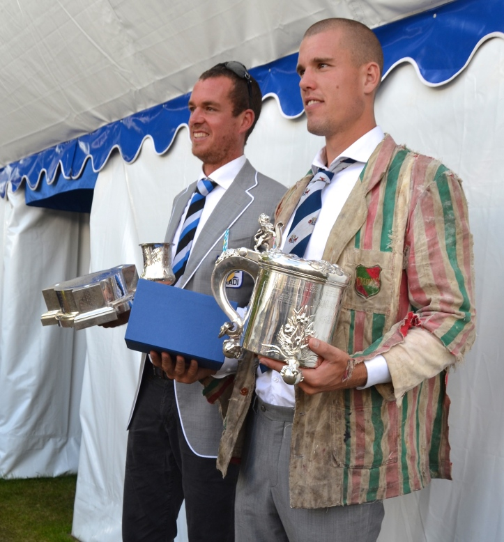 Brass (right) wears a particularly fine example of a Dutch student blazer which is passed on from one generation to the next with a strict prohibition on washing or repairing. In his left hand, Steenman holds the Silver Goblet that is his to keep (and to go with the one that he already has).