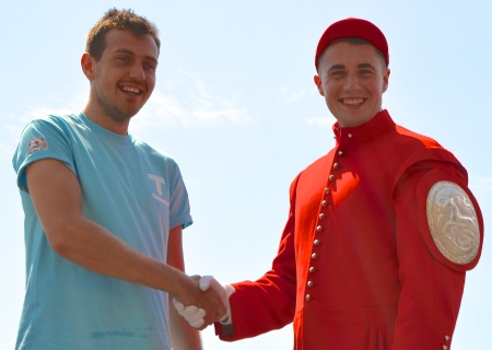 On 20 July 2016, Ben Folkard (left) became the 302nd winner of the Doggett's Coat and Badge Wager with a time of 26 minutes 53 seconds. Here, he is congratulated by Louis Pettipher, the 2015 winner.