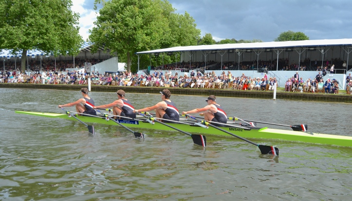 The Fawley Challenge Cup (Junior Men's Quads): Glasgow School's Rowing Club beat Gloucester Rowing Club (pictured) by 1 1/4 lengths.
