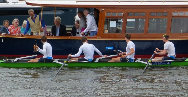 One of the problems unique to Henley – getting entangled with a booze cruse on the way to race. However, the Grasshopper-Club of Zürich, Switzerland, still made it to the start of their heat of the Wyfold Challenge Cup for club coxless fours where they beat Agecroft by 3 1/4 lengths.