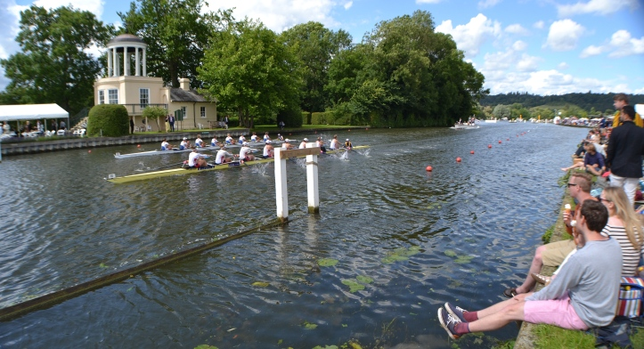 The Remenham Challenge Cup (Women's Open Eights) passing Temple Island. Princeton Training Center, USA, (nearest camera) beat Veslařský Klub Slavia Praha and Veslařský Klub Slavia Dĕčin, Czech Republic. Verdict: Easily.