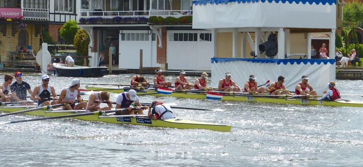 At the finish, Hollandia (right) perhaps had to work harder than expected for their win over the British crew (left).