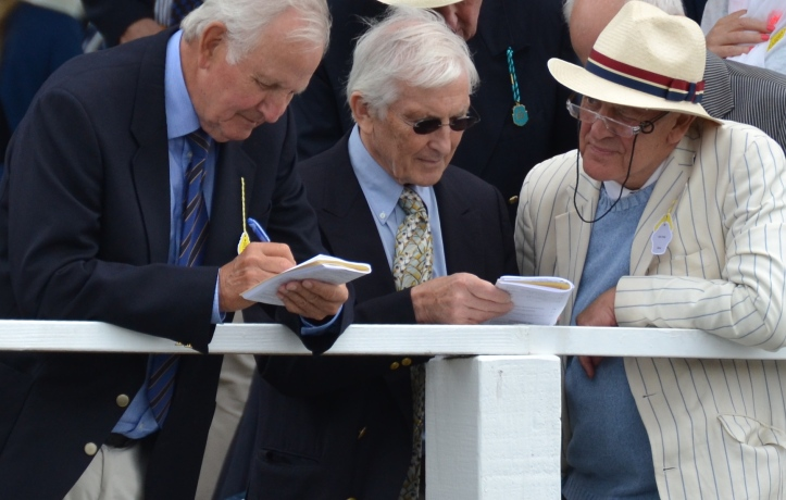 Chris Dodd (centre) and his promoting tie at Henley Royal Regatta earlier this month. Photo: Tim Koch.