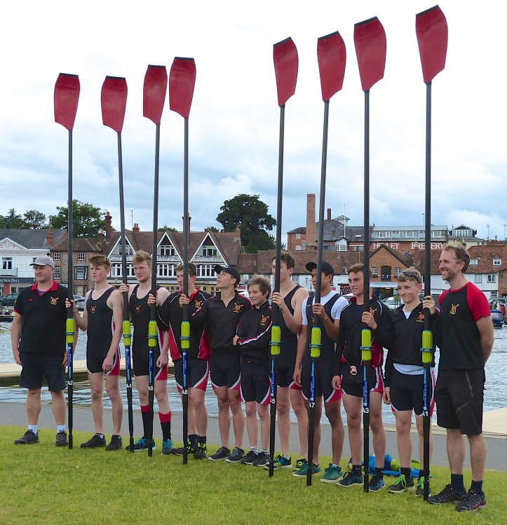The London Oratory School Boat Club's crew for the Princess Elizabeth Challenge Cup (Junior Men's Eights). On Wednesday, they beat King's School, Canterbury but on Thursday they lost to Shiplake College. It is one of only four state school boat clubs in Britain.