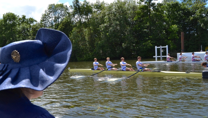 The Stewards' Challenge Cup (Men's Open Coxless Fours). Two crews vying to be the most efficient. Erster Wiener Ruderclub 'LIA' and Ruderverein Villach, Austria, (far side) beat Ruder Club Tegel and Ruderklub am Baldeneysee, Essen, Germany, by 1/2 length.