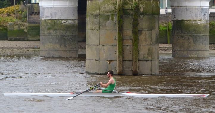 McCarthy at the finish, passing under the Albert Bridge.