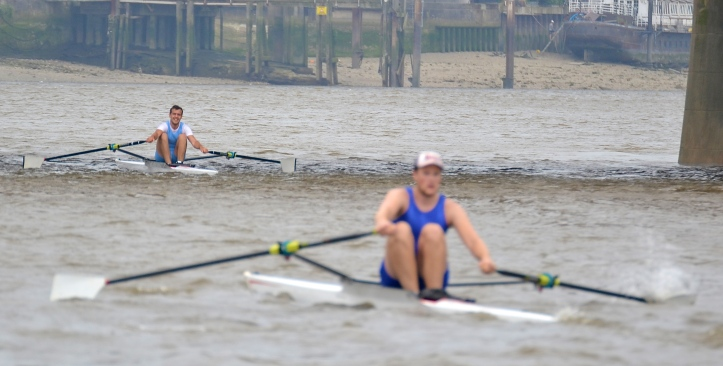 At Vauxhall, Folkard dares to dream – but he knows that, in the prevailing conditions, one bad stroke could mean a soaking rather than a celebration. He later said that after Westminster his main concern was 'keeping my head straight and trying not to do anything silly' and he admitted to often sculling a short slide.