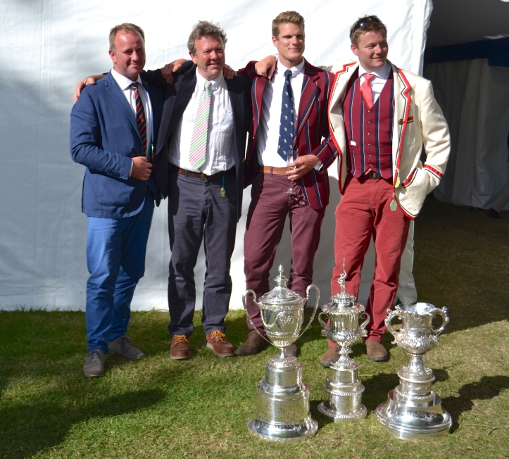 British Rowing's Coach of the Year, Richard Spratley, Director of Rowing at Oxford Brookes (second from left), with three of his ex-rowers, now coaches of winning Henley crews themselves. On the left is Alex Henshilwood whose Eton crew won the Princess Elizabeth, second from the right is Henry Bailhache-Webb whose Brookes crew won the Temple and on the right is Ben Lewis whose Thames RC crew won the Visitors' this year and the Thames Cup last year.