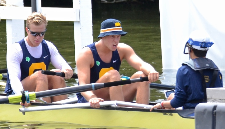 Cal stroke man Gosden-Kaye shows his fighting face. Several American oarsmen waiting on the start let out strange and random cries as well as banging the sides of their boat, actions not to my taste.