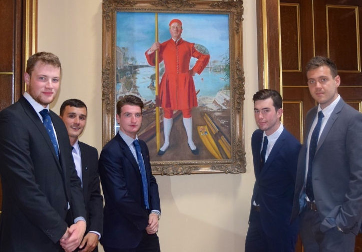 The 2016 competitors pictured at Fishmongers' Hall on 17 June when they drew lots for stations. Left to right: Anderson, Berry, Flynn, McCarthy, Folkard. They are in front of a portrait of Herbert Clark, the 1948 winner. Picture: @TidewayLondon.